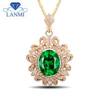 Fashion Gorgeous Oval 8x10mm Natural Emerald Green Stone Pendant Necklace Design In 14Kt Yellow Gold Diamond Wedding Jewely Gift