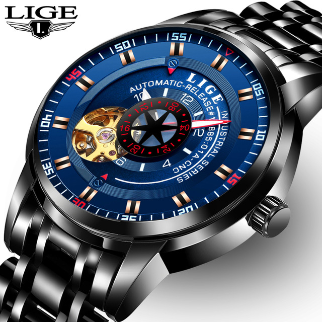Relogio Masculino 2017 Top Brand Luxury LIGE Mens Watches Automatic Mechanical Watch Men Full Steel Business Waterproof Sport Wa top brand luxury men watch full automatic mechanical hollow watches men wristwatches hours clock mens watches relogio masculino