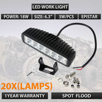 20pcs Lots DHL FREE SHIPPING 6INCH 18W LED WORK LIGHT BAR FLOOD BEAM OFFROAD DRIVING FOG