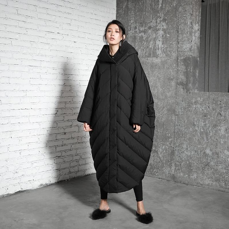 Original Design Winter 2017 New unique bat sleeved cloak type winter coat women oversized long hooded white duck down jacket