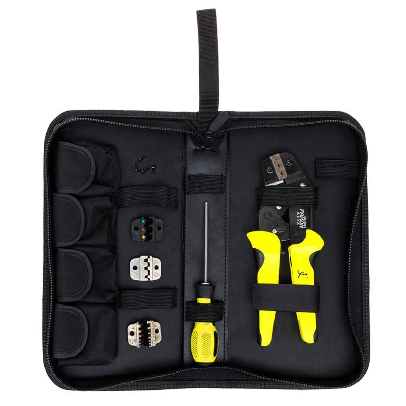 4 in 1 Multi-function Cable Wire Crimper Crimping Pliers Kit with Ratchet Terminal Screwdriver Engineering Hand Tool Sets Featu laoa 4 in 1 multi function module network punching with wire insertion cutting function screwdriver la195303