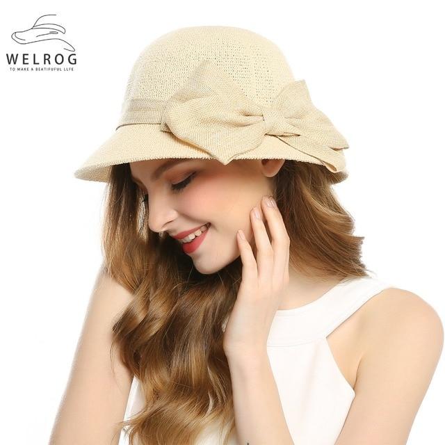 ccfdf59cb12032 WELROG 2019 Bohemian Solid Beige Color Cotton Big Bow Sunhat Fisherman Hat  Summer Women Beach Sunscreen