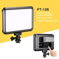PT 12B Slim LED Video Light Bi Color & Dimmable LCD Display DSLR Studio LED Light Lamp Panel 3200 5600K for Camera DV Camcorder