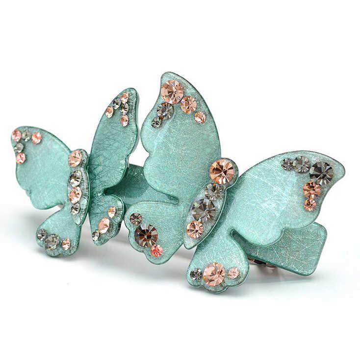 High Quality Fashion Hair Clips Clasp Barrettes Acrylic silk Butterfly Hair Barrette Green Large Rhinestone Barrette LS3050