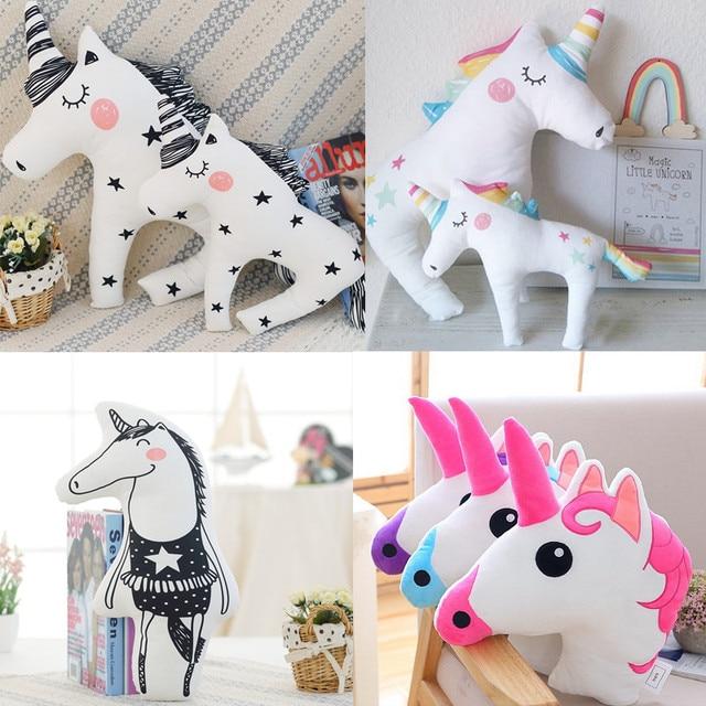 Novo Brinquedo Animal Cavalo UNICÓRNIO Boneca Travesseiro Criativo  Impressão Vívida Forma Bonito Escritório Abraço Travesseiro Presente