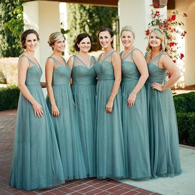 new style 79586 41d2b US $99.99 |2017 Teal Verde Tulle Lunghi Abiti Da Damigella D'onore A Buon  Mercato Abiti Da Damigella D'onore Prom Dress Vestido de Madrinha de ...