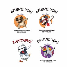 Iron on Dog Cat Unicorn Patches for Clothing Heat Transfer Vinyl Stickers on Clothes T-shirt Applique Letter Patch Heat Press цена