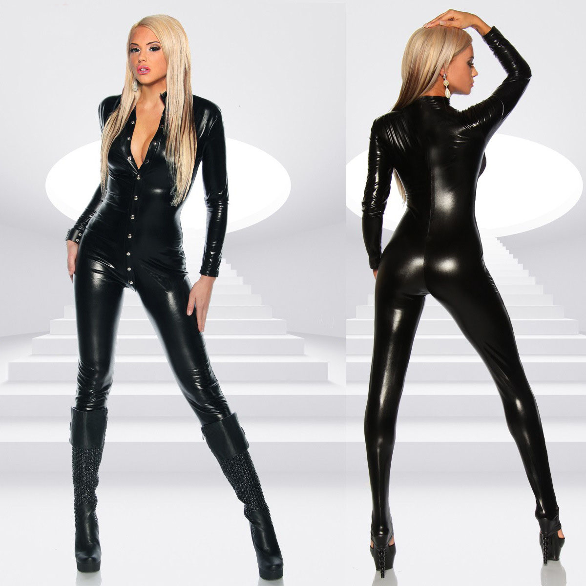 Sexy Lingerie Hot Women Prisoners Artificial Minishirt A Row Of Buckle Pu Leather Teddy Sexy Babydoll Erotic Lenceria Costumes
