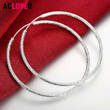 AGLOVER 925 Sterling Silver Frosted Round 50MM Big Hopp Earrings For Women Fashion Earrings High Quality Wedding Jewelry Gift