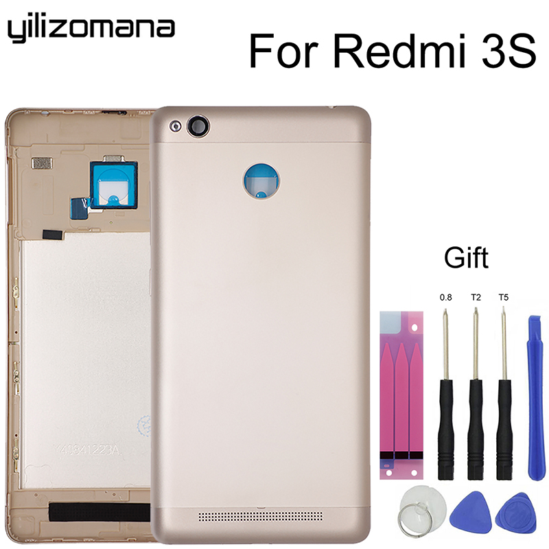 YILIZOMANA Replacement Back <font><b>Battery</b></font> <font><b>Cover</b></font> Case For Xiaomi <font><b>Redmi</b></font> <font><b>3S</b></font> /<font><b>Redmi</b></font> 3 Pro with side buttons Door Rear Housing <font><b>Cover</b></font> +Tools image