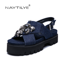 Shoes woman Summer 2017 ECO-leather Pu Crystal Size 35-41 Flat with sandals women Tree colors Free shipping NAYTILYE