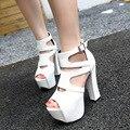 Envío gratis 2017 Europa de Primavera nueva moda Gladiador sandalias de las mujeres zapatos de tacón alto 14 cm
