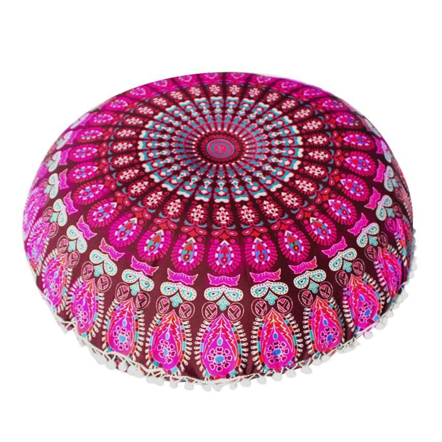 MUQGEW Beautiful Large Mandala Floor Pillowcase Round Bohemian Meditation Cushion Case Ottoman Pouf 80x80cm Cojines Decorativos