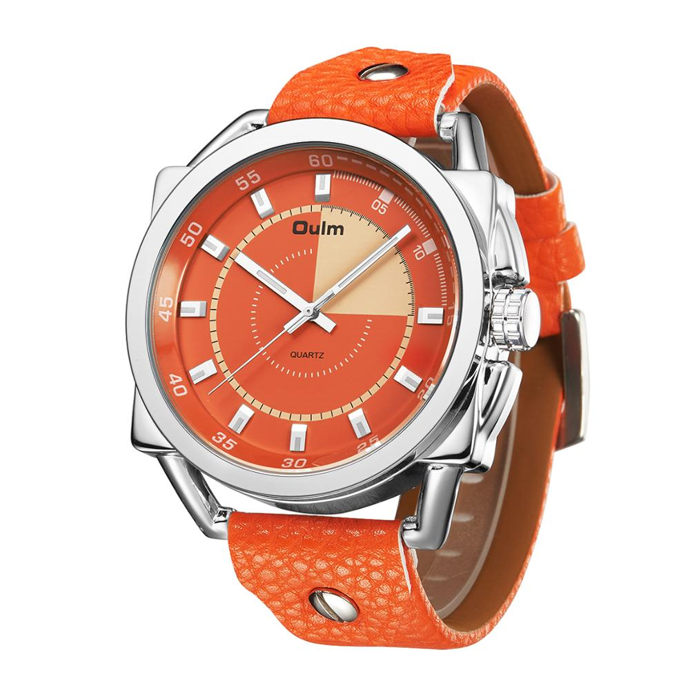 oulm Sport Watches Men LED Digital Analog Orange