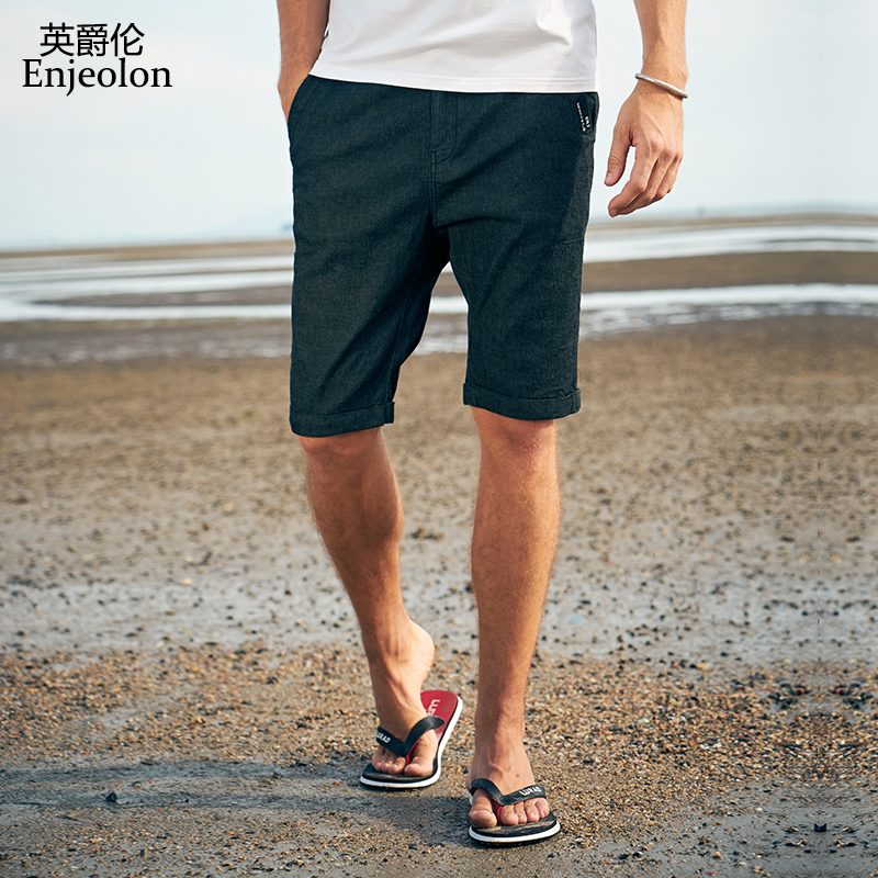 Enjeolon Top 2020 Summer Casual Jeans Shorts Men Cotton Sim Solid Base Black Jeans Available Knee Length High Quality K6437