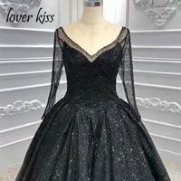 Lover Kiss vestido de novia Stunning Gothic Wedding Dresses Black Long Sleeves Shiny Bodice V Neck Bridal Gowns Corset Back 2019