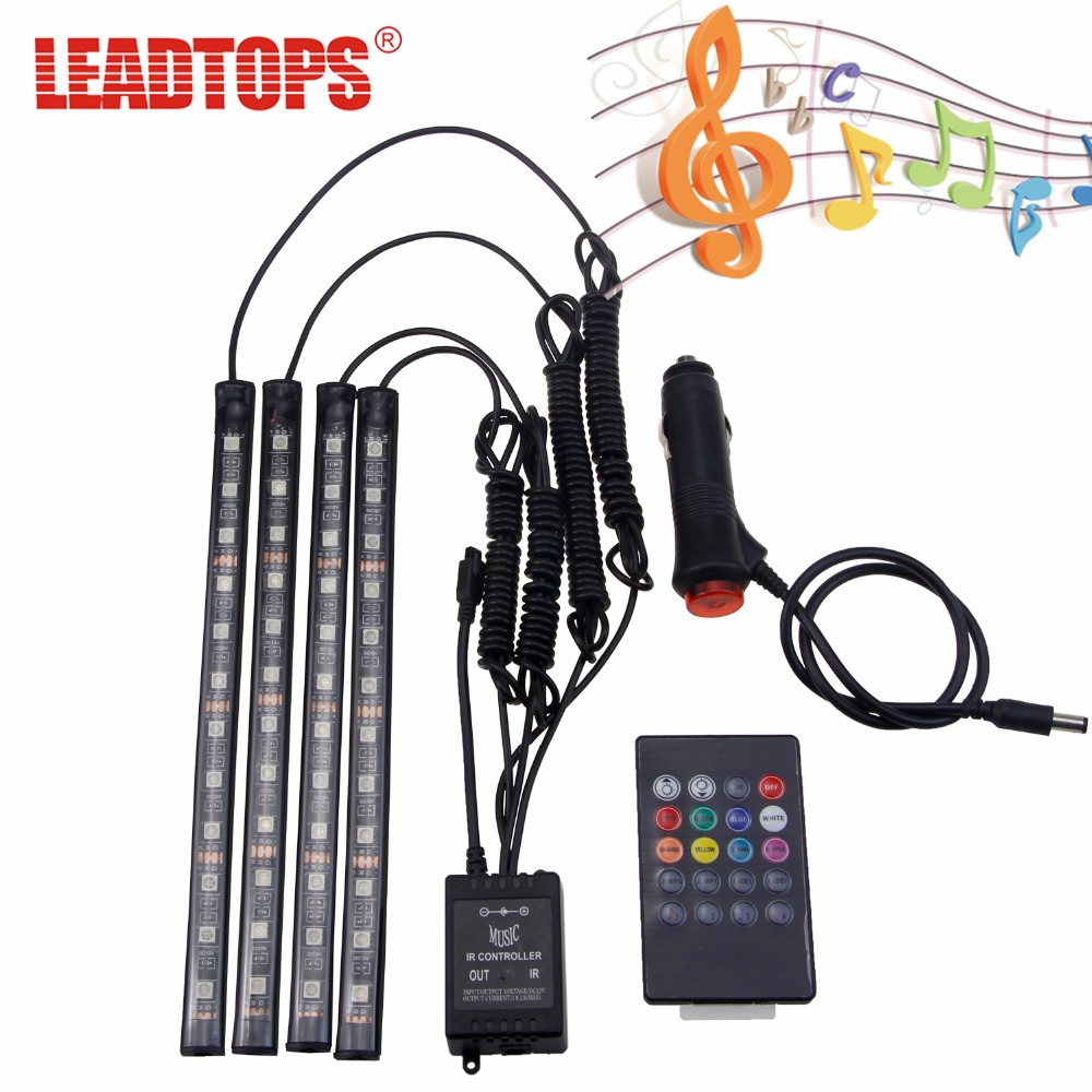 LEADTOPS Car Styling 12 led Car RGB LED Interior Light Strip Music Voice/Remote Control Decorative Atmosphere Lamp Remote CJ