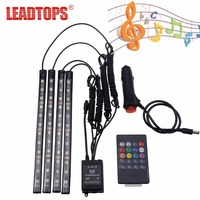 LEADTOPS Car Styling 12 Led Car RGB LED Interior Light Strip Music Voice Remote Control Decorative