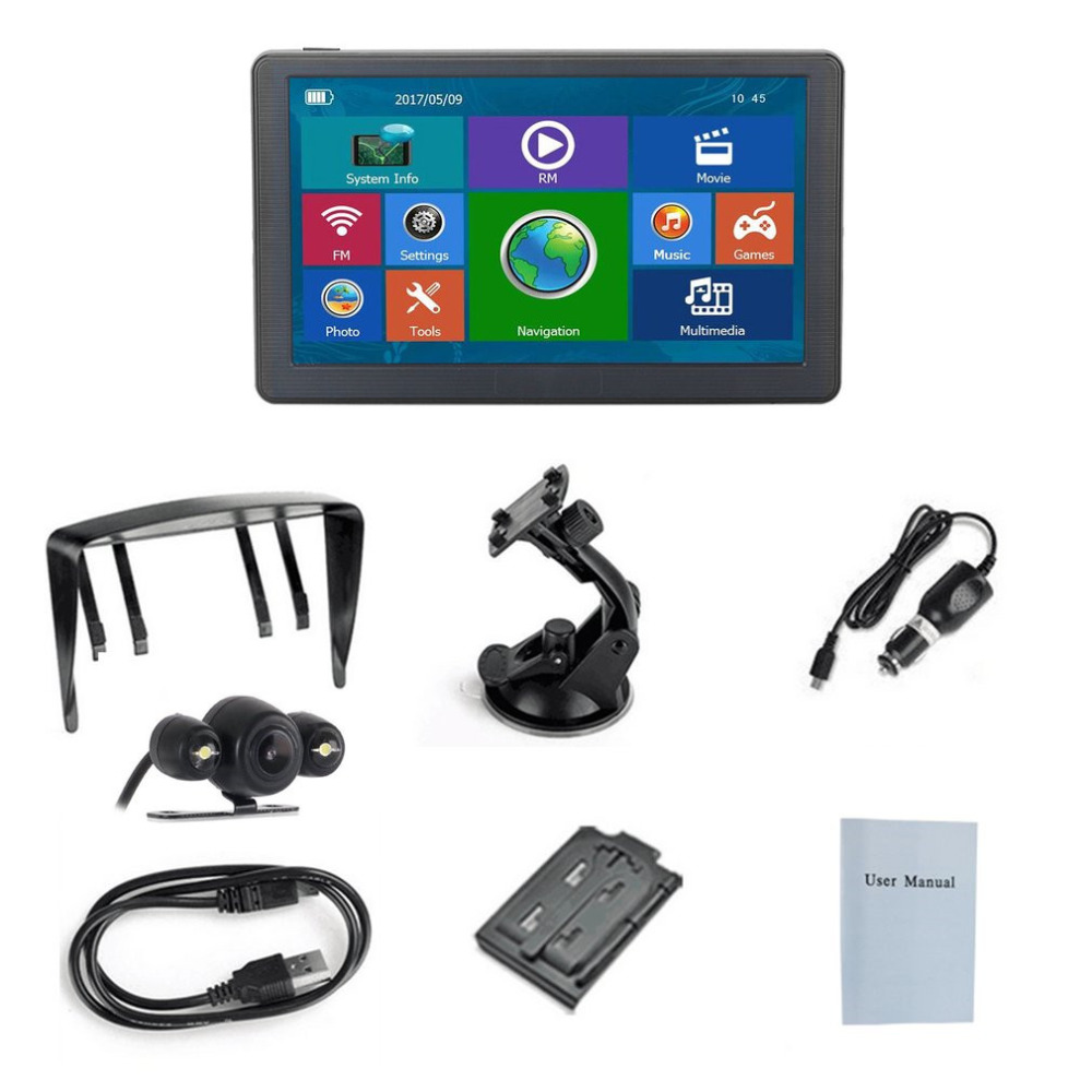 New 7 inch Car Truck GPS Intelligent Navigation Bluetooth 8GB Wired Reversing View Camera With LED Light Sunshade Touchscreen