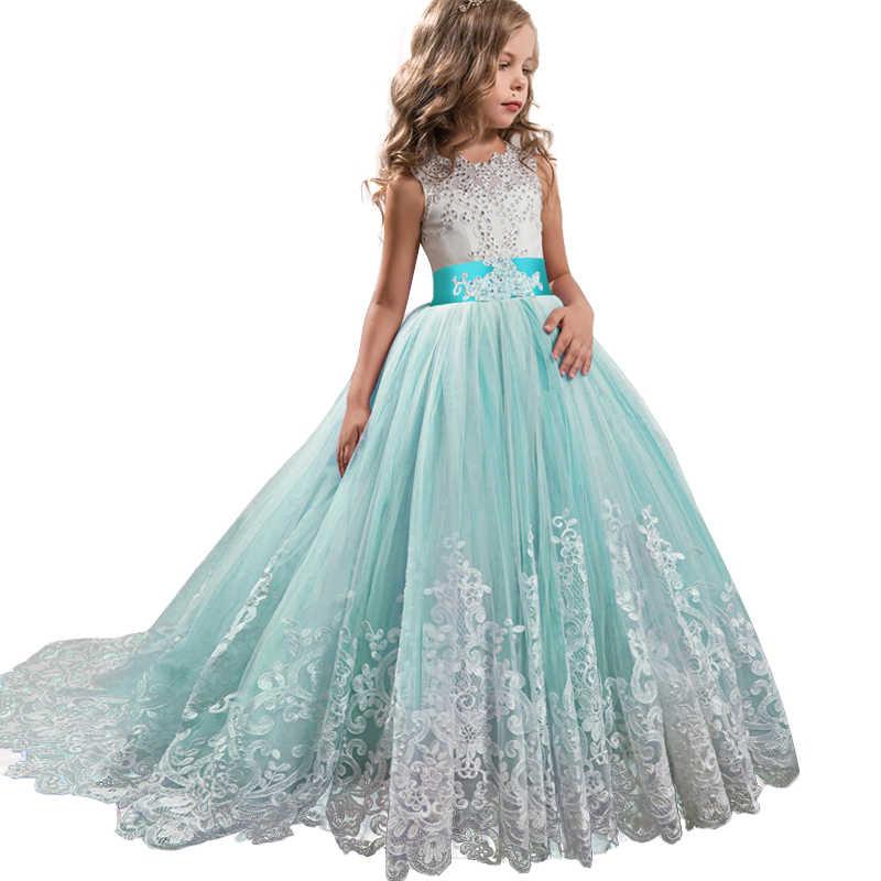 2019 Disfraces De Carnaval Flor Niñas Dama De Honor Vestido De Fiesta Vestido De Boda Para Niñas Niños Ropa Larga Princesa Vestido 10 12 Años