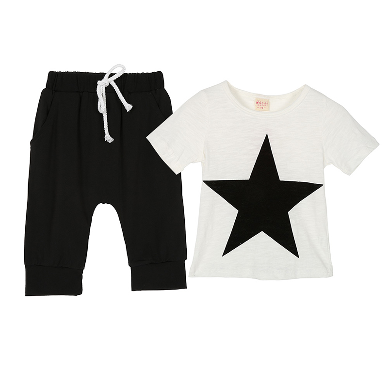 Summer Boys Clothing Set Baby Cotton Short Sleeve Star Printed T-Shirt + Pants gooulf new casual baby boys clothing set summer cotton turn down collar red short sleeve t shirt summer baby boy clothes