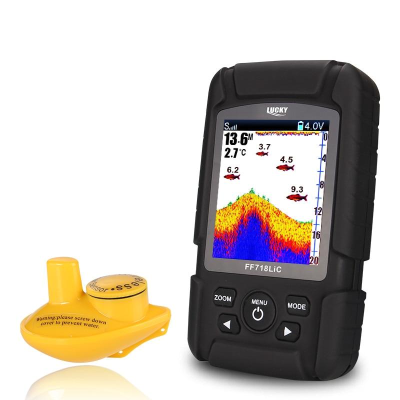 LUCKY Waterproof Wireless Floating Fish Finder Sonar 45M Detection Muti-language Depth Alarm Detector Boat Fishing FF718LiC-W