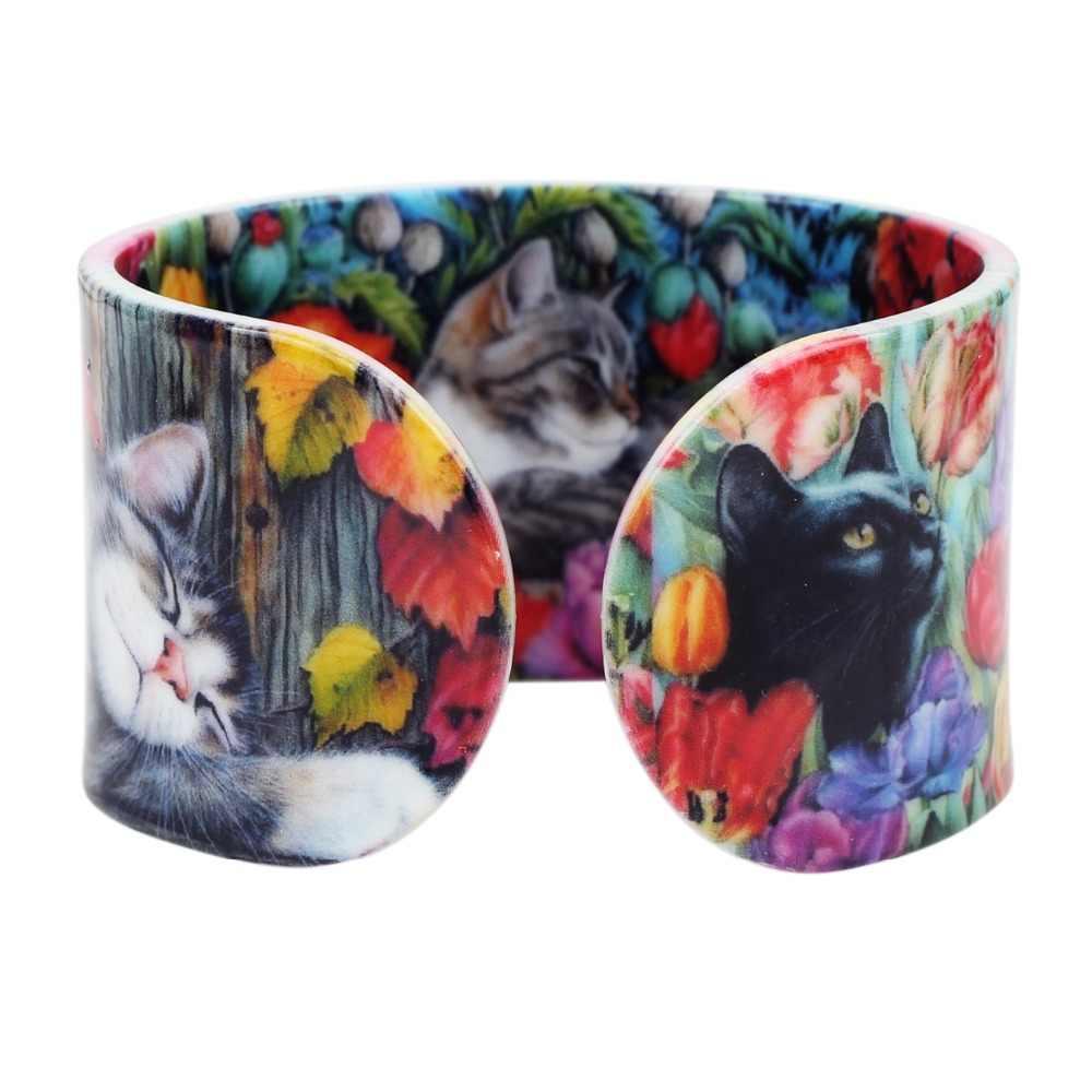 Bonsny פלסטיק צבעוני אלגנטי חתול חתלתול צמידי צמידי אופנה תכשיטי מלאכת לנשים ילדה בעלי החיים אבזרים סיטונאי