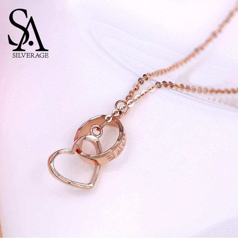 SA SILVERAGE 18K Rose Gold Heart Pendant Necklaces Woman Pendant Chain O Love Buckle Letter Love
