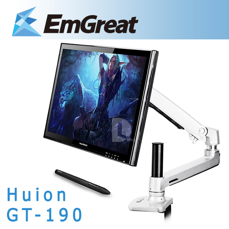 Huion GT-190 19 Professional LCD Monitor Art Graphic Drawing Pad Digital Tablet Board USB Pen+Steel Foldable Desk Mount Stand
