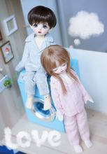 цена 1/6 BJD SD doll Pajama set pink blue color for 1/6 BJD SD doll clothes doll accessories clothes for dolls онлайн в 2017 году