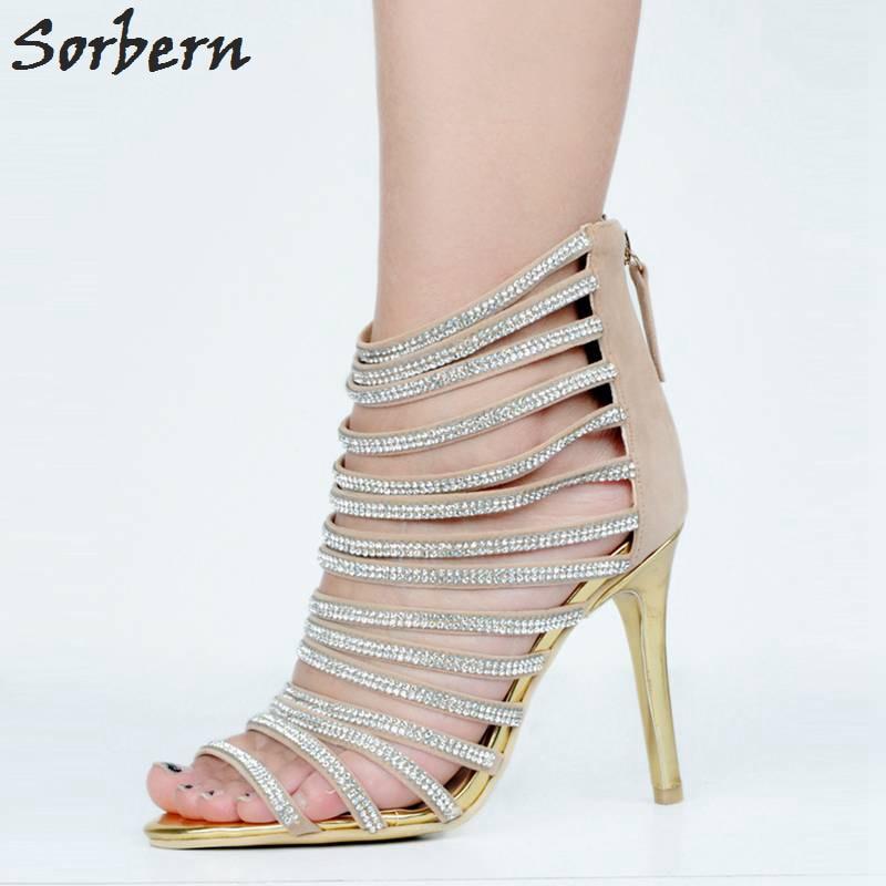 Botas Punta China 34 Mujer Sandalias Plus De Para Abierta Tamaño Diamantes Tacones Khaki Sorbern Imitación 48 xp08Rq