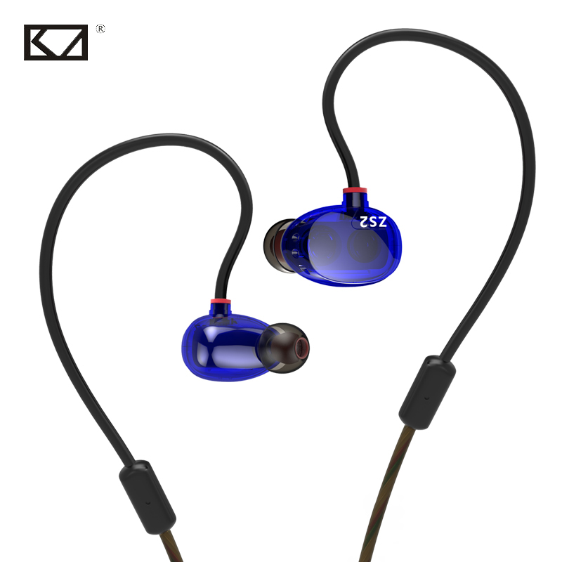 KZ ZS2 Fashion Blue In Ear Earphone Headphones Wired Earhook Heavy Bass Music Movie Sport Headset for Phone MP3 PC