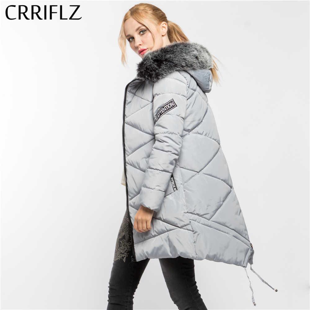 82055008928 CRRIFLZ зимой оформление толстый искусственный мех высокое качество Теплая  зимняя кофта Для женщин пальто с капюшоном