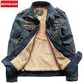 Big Size S-3XL Men's Slim Denim Outerwear MaleTthickening Down Coat Casual Epaulet Jacket Men's Clothing Winter DJ05 Velvet