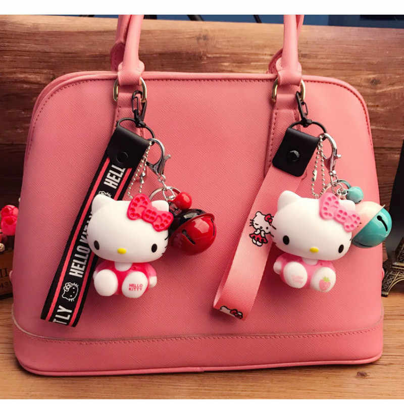 dfe76904b586 ... 2018 New Hello Kitty Women Keychain Chimes Cute Cartoon Girls Gift  Fashion Wrist Band Car Bag