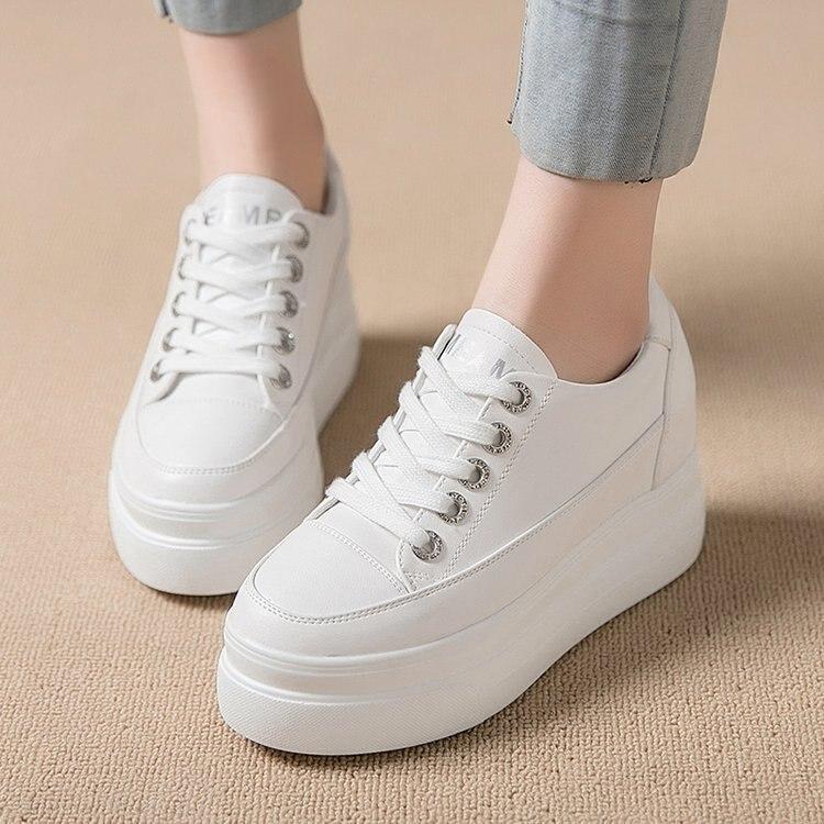 100% QualitäT Bzbfsky Mode Wedge Weiß Plattform Turnschuhe Herbst Casual Frauen Schuhe Wilden Plattform Heels Weibliche Freizeit Weiß Damen Turnschuhe