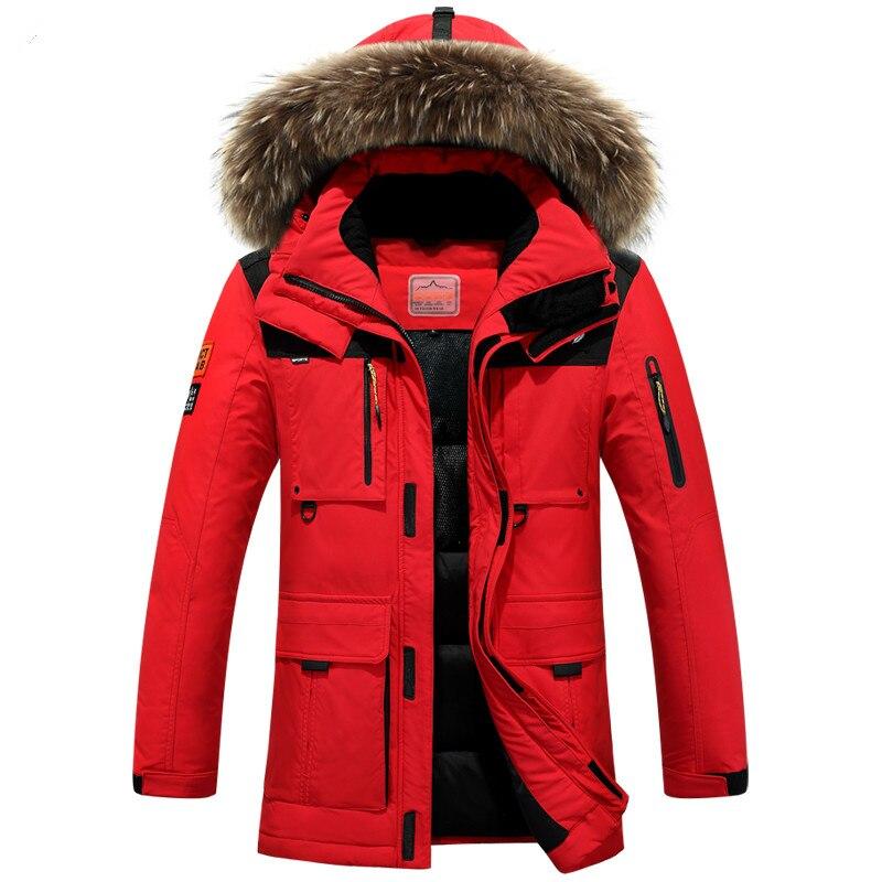 4XL красная толстая зимняя куртка, Мужская белая пуховая куртка, Мужская длинная парка, Тренч, верхняя одежда, капюшон, меховой воротник, теплая ветровка