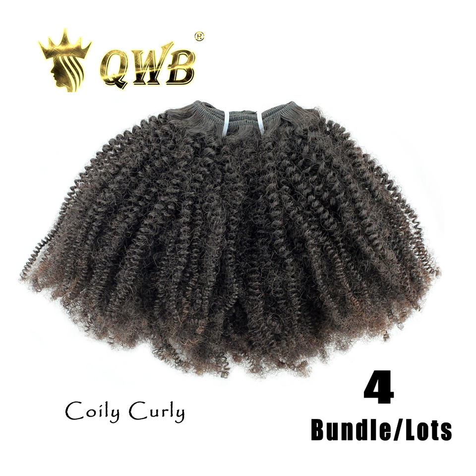 Qwb Coily Curly Free Shipping 4bundle Lots 14 22 Queen Weave Beauty Brazilian Virgin Nature Color 100 Human Hair Weaving In 3 4 Bundles From