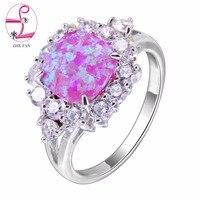 ZHEพัดลมสีขาวสีชมพูสีฟ้าโอปอลไฟแหวนหมั้นหญิงปูAAA CZ Cubic Z Irconiaแหวนสำหรับผู้หญิงแต่งงานพรรคของขวั...