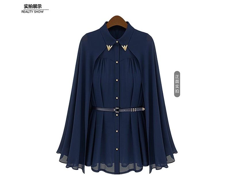 vestidos de fiesta Womens Chiffon Cloak Blouse Shirts Tops Elegant Navy Blue Beige Chiffon Cloak Sunscreen Tops Ladies Fashion  (21)