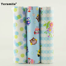 100% Cotton Fabric Light Sky Blue Color Children Clothes Teramilas Fabric Flower/night Owl/circle Design Decoration 3 Piece/lot