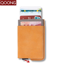 QOONG New RFID Blocking Travel Card Wallet Automatic Pop Up ID Credit Holder Men Women Business Case Purse KH1-022