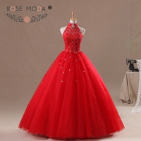 Rose Moda Halter Neckline Lace Top Red Puffy Tulle Quinceanera Dress 2018 Floor Length Lace Ball Gown Real Photos
