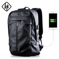 Waterproof Backpack PVC Men Laptop Backpack 15 6 Black School Bags College Boys Large Computer Bag