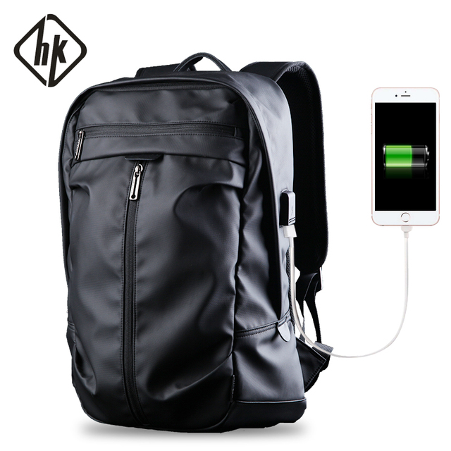 5457ee518a Waterproof Backpack PVC Men Laptop Backpack 15.6 Black School Bags College  Boys Large Computer Bag USB Charge Male Notebook Back