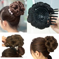 Curly Hair Bride Makeup Bun Flowers Chignon Claw on Ponytail Hairpiece Heat Resistant Extension Styling Tools