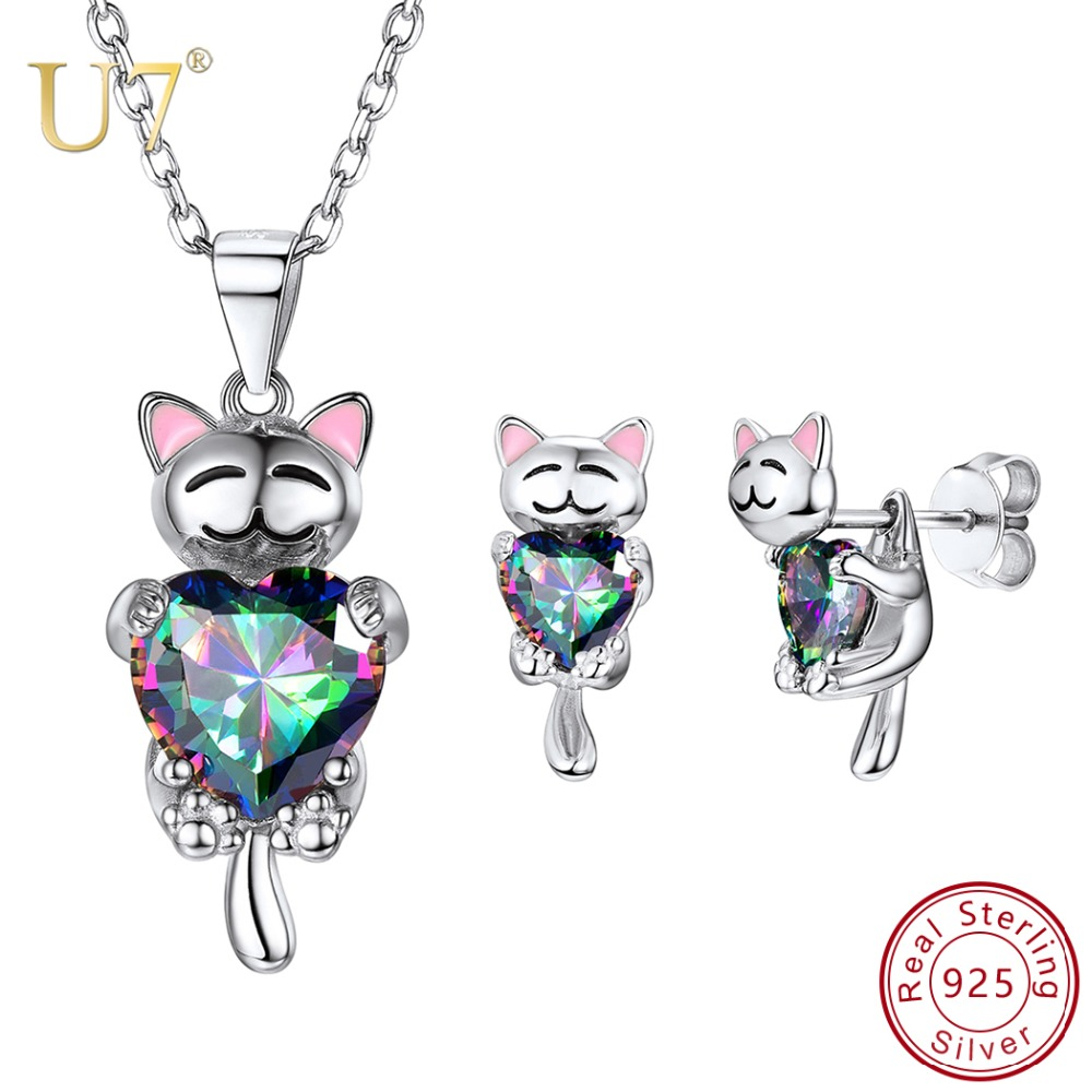 U7 925 Sterling Silver Elegant Animal Cat Dog Jewelry Set for Women Bridal Wedding Necklace Earrings Set Mother's Day Gift SC286
