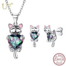 купить U7 925 Sterling Silver Elegant Animal Cat Dog Jewelry Set for Women Bridal Wedding Necklace Earrings Set Mother's Day Gift SC286 по цене 2243.21 рублей