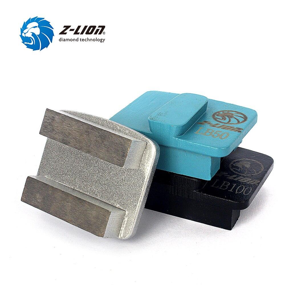Z LION 3pcs Metal Bond Diamond Concrete Grinding Pad Redilock Shoes Double Bar Segment Floor Polishing