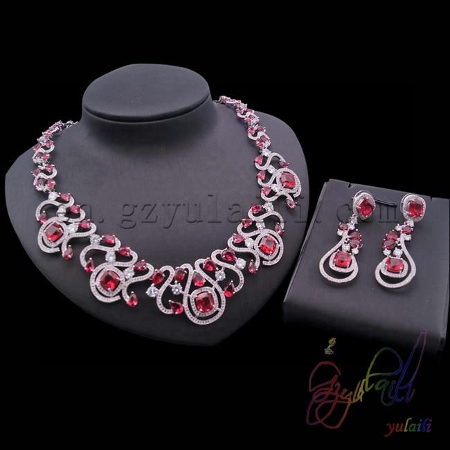 Chine fournisseur rouge aaa qualité cubique zircone bijoux ensembles femmes bijoux ensemble avec placage d'or
